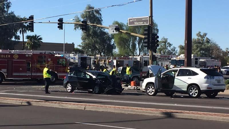 Three vehicle crash injures ten for Department of motor vehicles chandler az