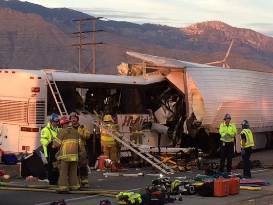 Tour Bus Crash Palm Springs California
